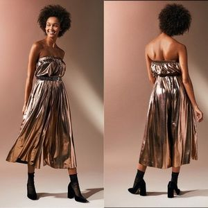 UO Hollywood Gold Copper Shiny Pleated Jumpsuit